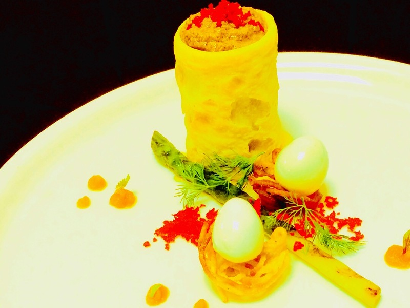 Asparagus grilled,Duck liver mousse with beetroot powder,quail eggs ,spiced carrot and pumpkin mash
