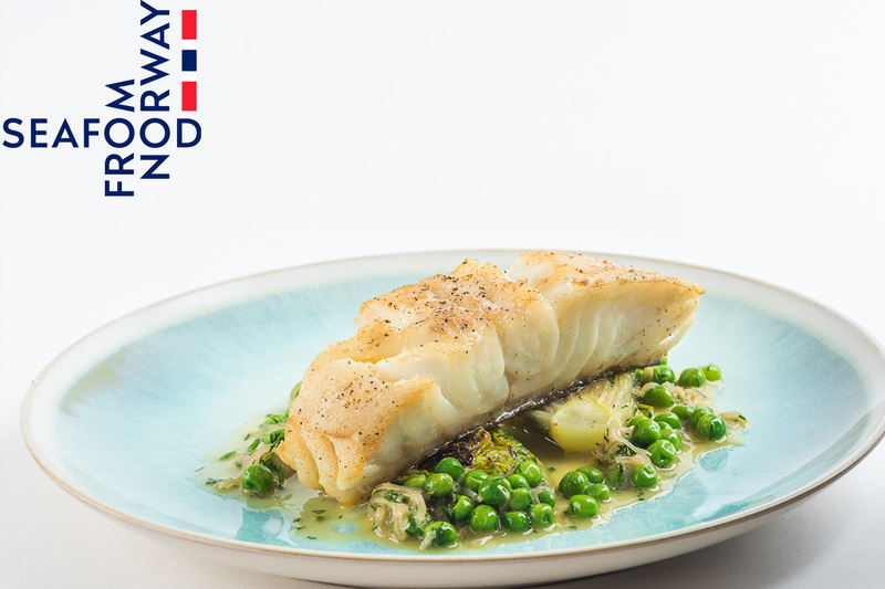 Roast Norwegian Cod with Braised Lettuce, Peas and Dill