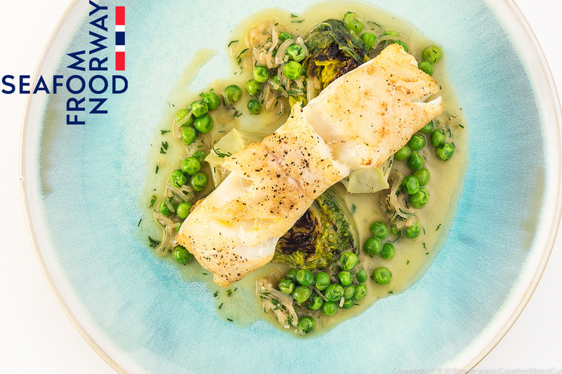 Roast Norwegian Cod with Braised Lettuce, Peas and Dill - 1