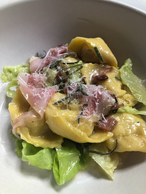 Cappellacci with Lardo/potato/cauli, Savoy cabbage with pancetta tessa/ sage burro Russo with thin sliced guanciale