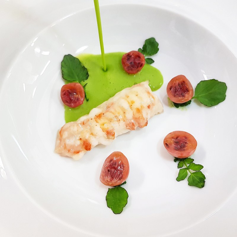 WATERCRESS VELOUTÉ :black_small_square: scottish langoustine :black_small_square: lardo di colonnata :black_small_square: pickled gooseberries