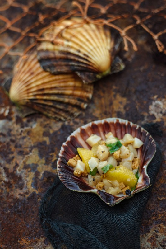 Scallop Tartare with Orange and Mint by Tom Kitchin