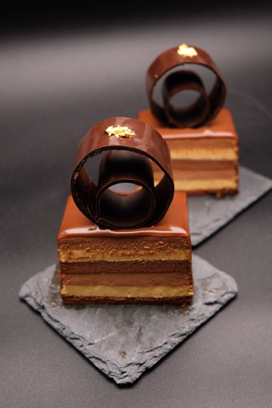 """The Wedding"" :wilted_rose::wilted_rose: (single portion)  - dark chocolate choux sponge - salted caramel cremeux - dark chocolate mousse - milk chocolate mirror glaze"