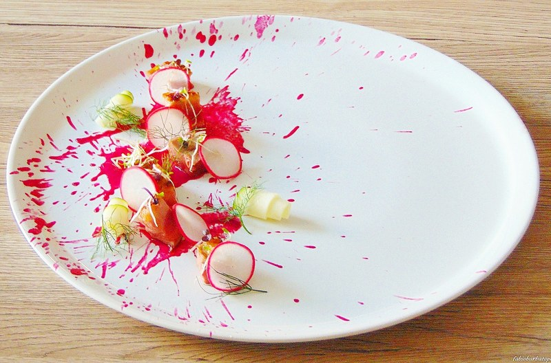 Think positive, think pink!  Chunks of crispy duck breast / radish carpaccio and zucchini / cream with yogurt and red turnip / radish roots