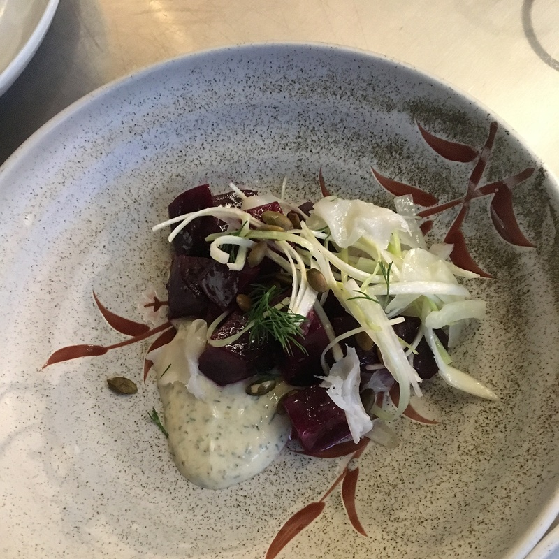 Roasted beets/fennel/leeks/pepitas/lardo/cumin-dill yogurt