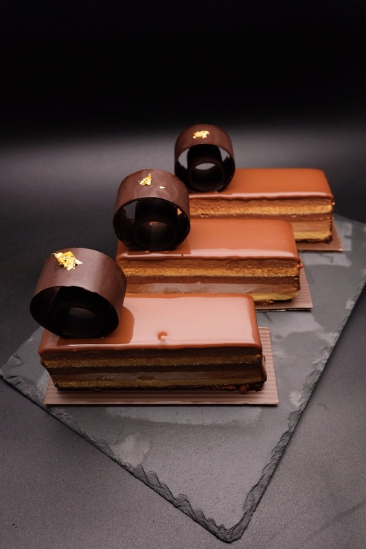 """The Wedding"" :wilted_rose::wilted_rose: (couple portion)  - dark chocolate choux sponge - salted caramel cremeux - dark chocolate mousse - milk chocolate mirror glaze"