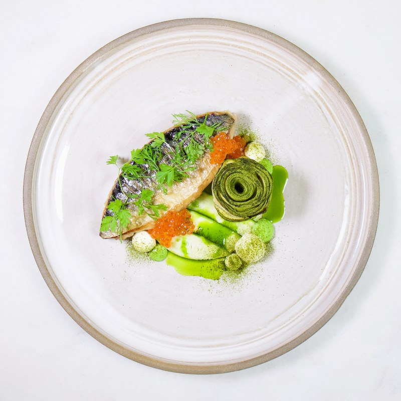 My favorite fish! Artic char w. Zucchini, lemon cream, trout roe and chervil oil :green_heart: