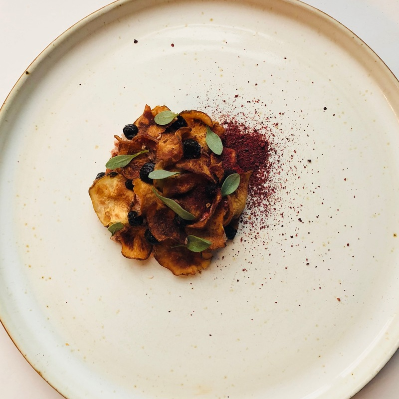 Chicken liver, Jerusalem artichoke, grape, black garlic