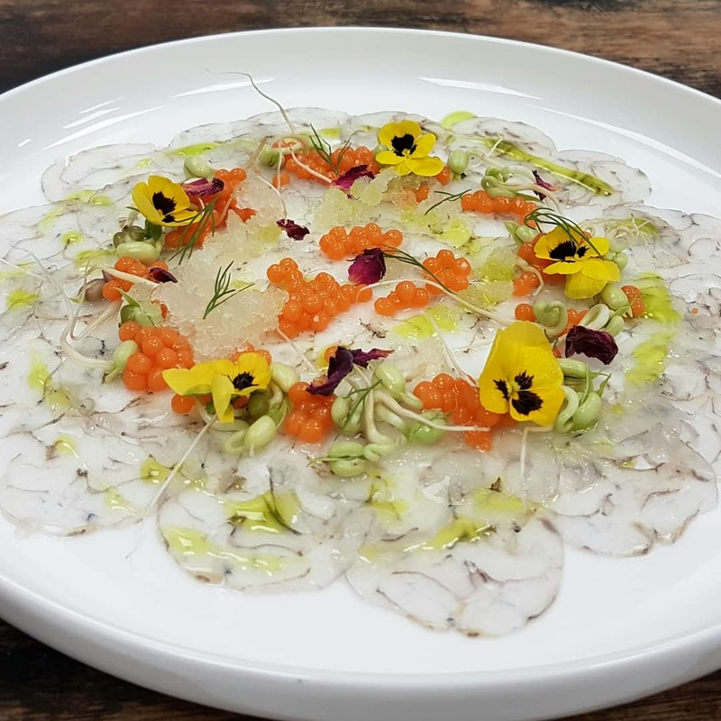 Prawn Carpaccio • celery and lime granita • carrot pearls • mung bean sprouts • corriander oil • edible flowers