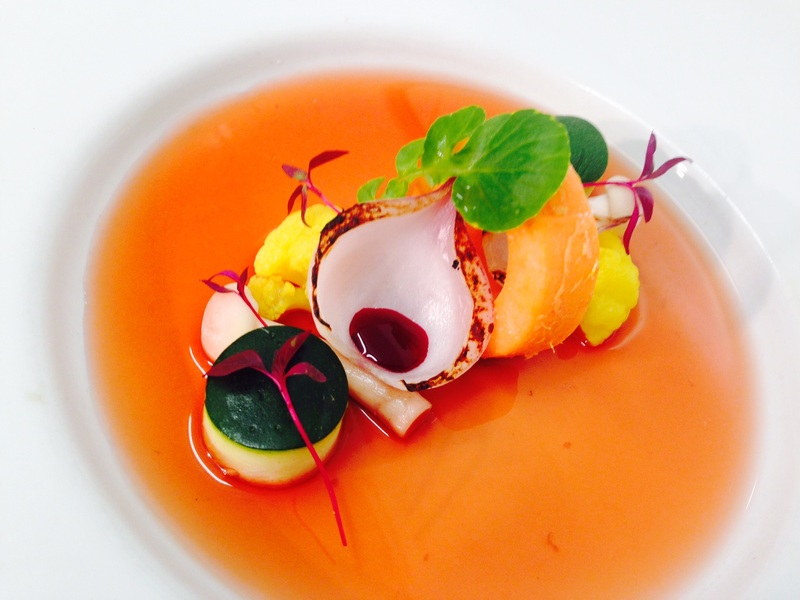 Sweet potato ring courgette cauliflower and beetroot consommé