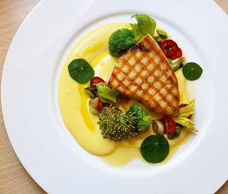 Wood grilled swordfish•creamy potato with saffron•broccoli•leek and chili•sea fennel flower•lemon oil...