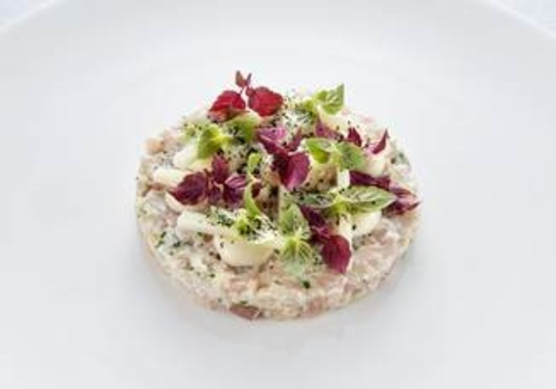 Mackerel tartare, oyster, green apple, shiso by Gary Foulkes