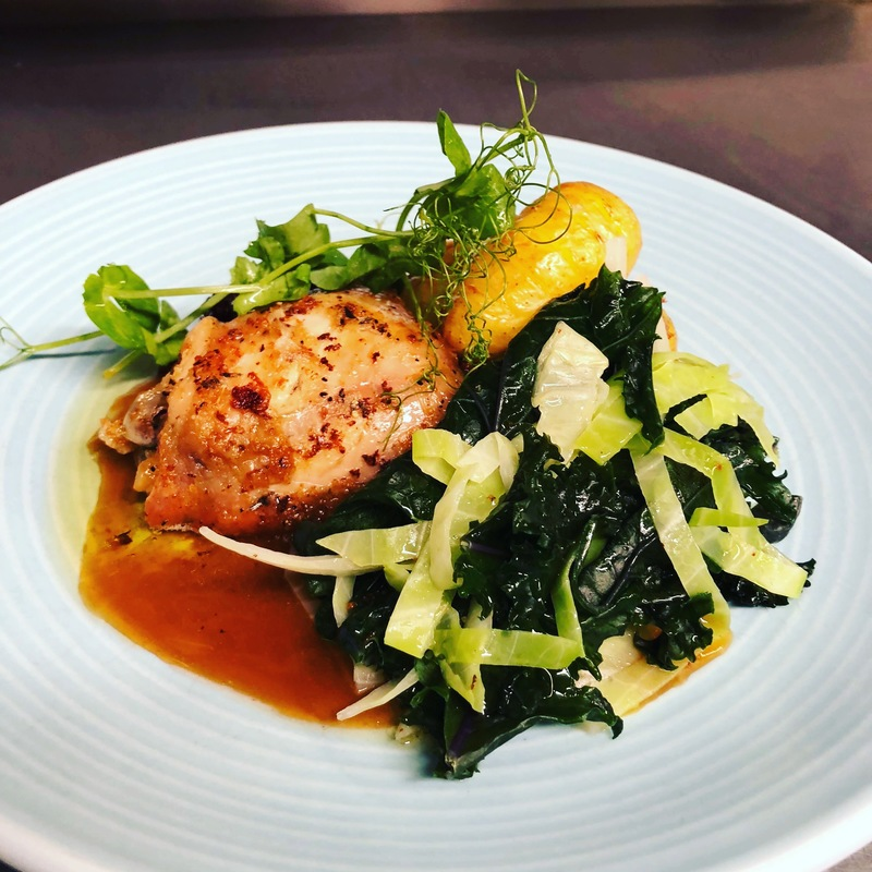 Our own reared confit chicken thigh, hassleback potatoes, cavolonero, cabbage, rich chicken gravy