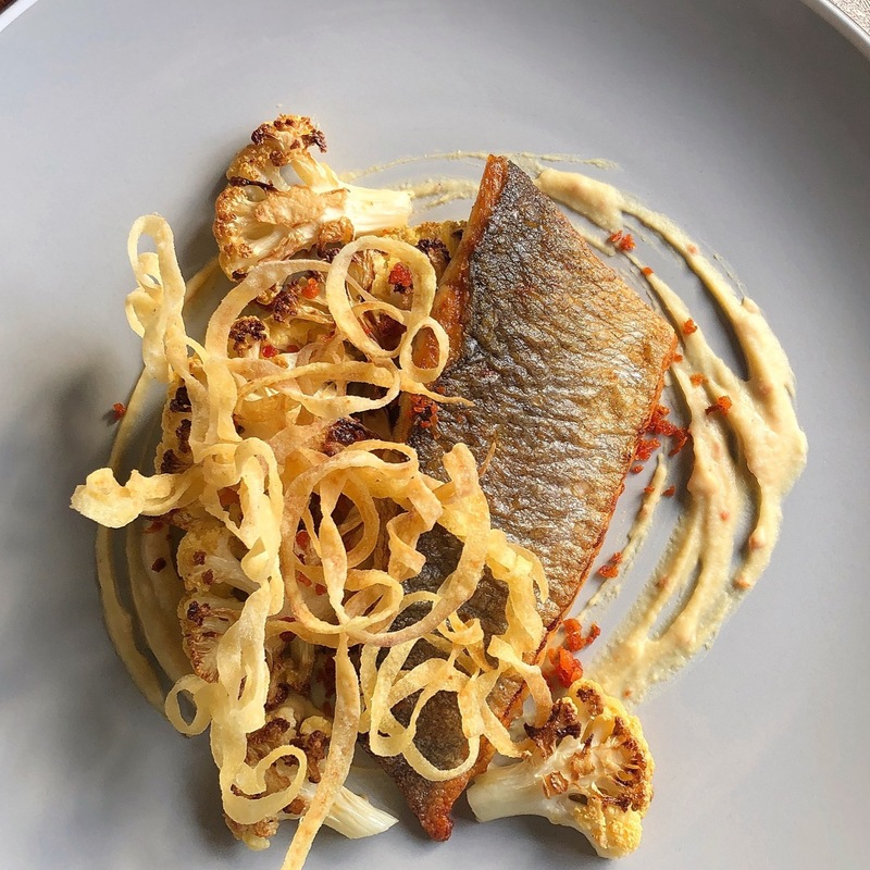 Sea Bass/Crispy Parsnip Noodles/Curried Chickpea/Butter Roasted Cauliflower/Chorizo