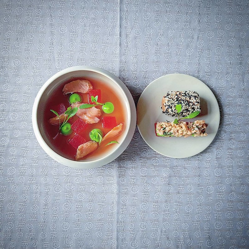 Variations of salmon: sesame crusted, lime ceviche, poached. Compressed watermelon, avocado and lime puree, chilled watermelon, pickled ginger and cucumber broth.