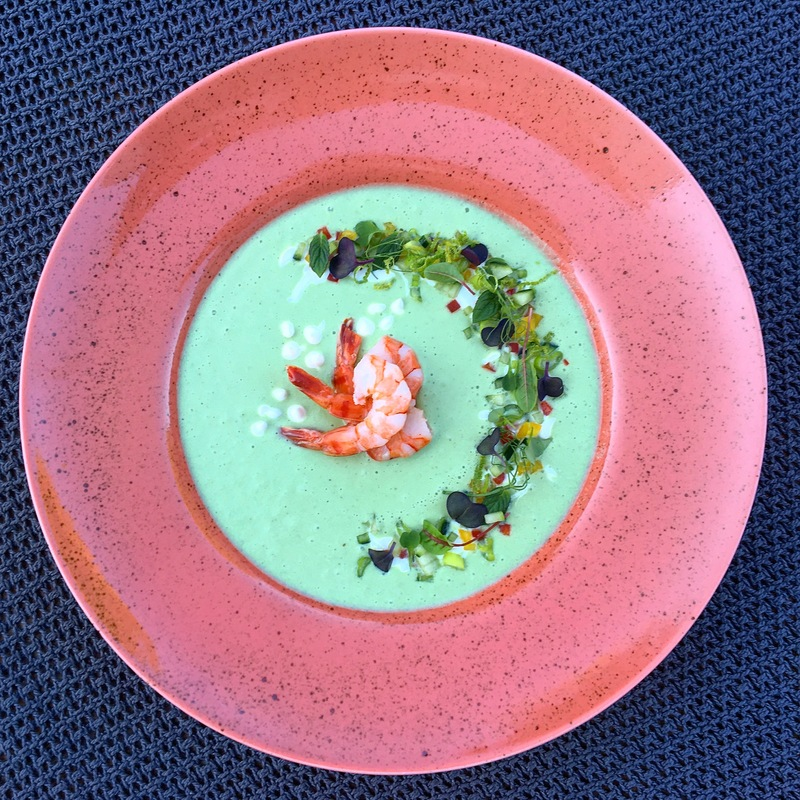 • Chilled cucumber soup with yogurt, jalapeno and peppermint • microgreens • shrimps •