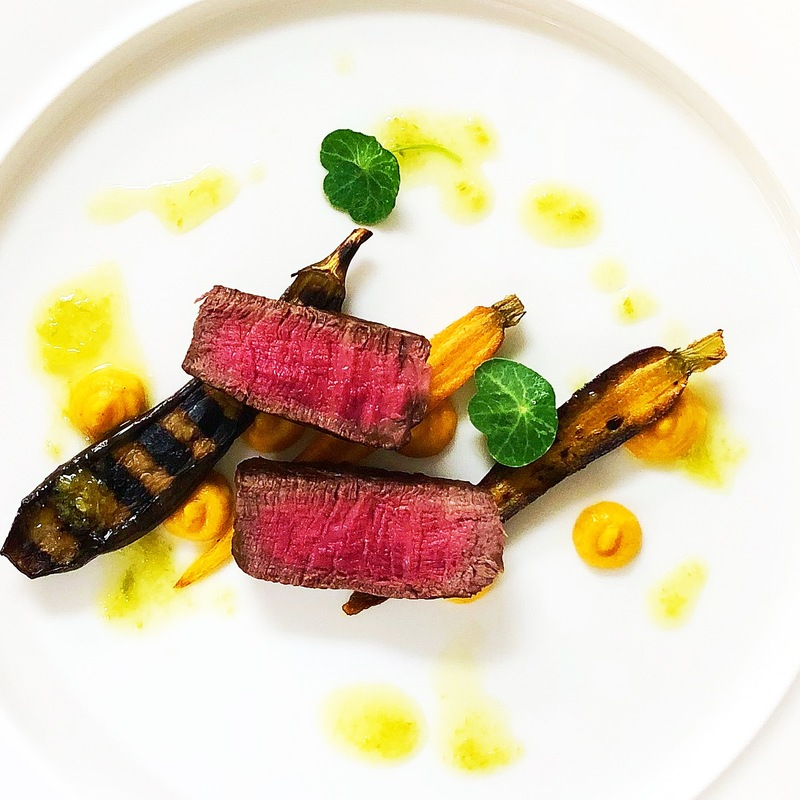 Beef, baby vegetables, pumpkin & garlic dressing.