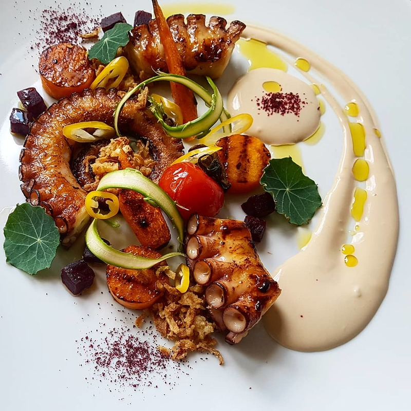 Sous vide grilled octopus•spicy beetroot•grilled carrot and butternut squash•roasted onion creme fraiche cream•beet powder...