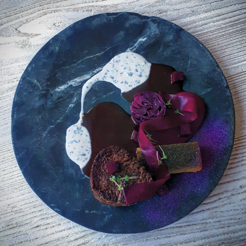 Fillet of Irish beef, bbq beef fat potato, red cabbage, beetroot, truffled sour cream, gravy