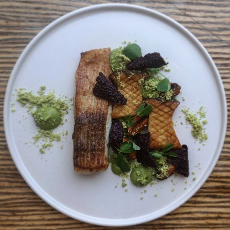Miso glazed skate wing and mussels, king oyster mushroom, black rice crackers, wasabi pea purée and wasabi pea crumb.
