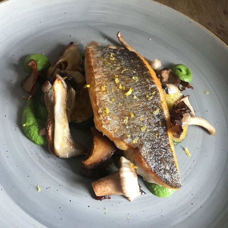 Sea Bass - Courgette - Wild Mushroom - Lemon