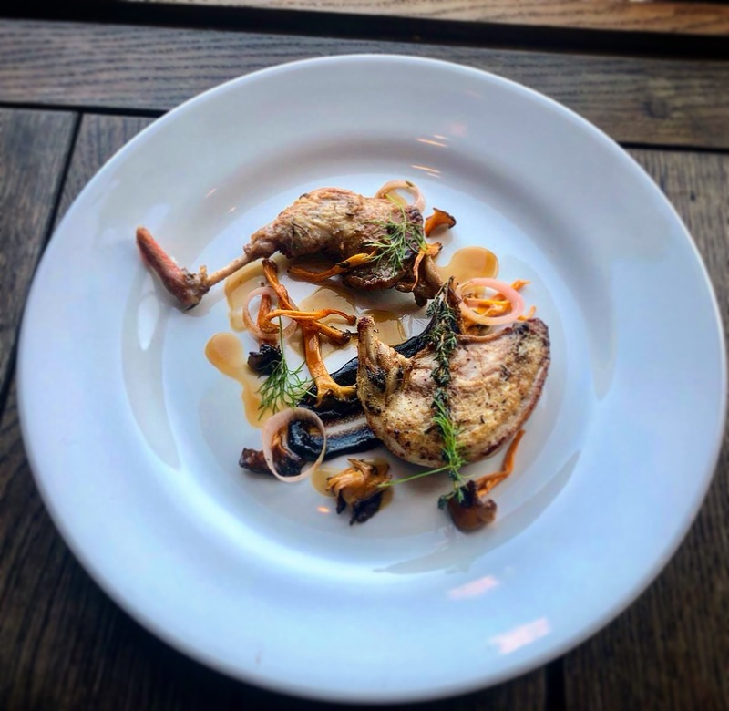 French trimmed partridge, black garlic and chanterelles