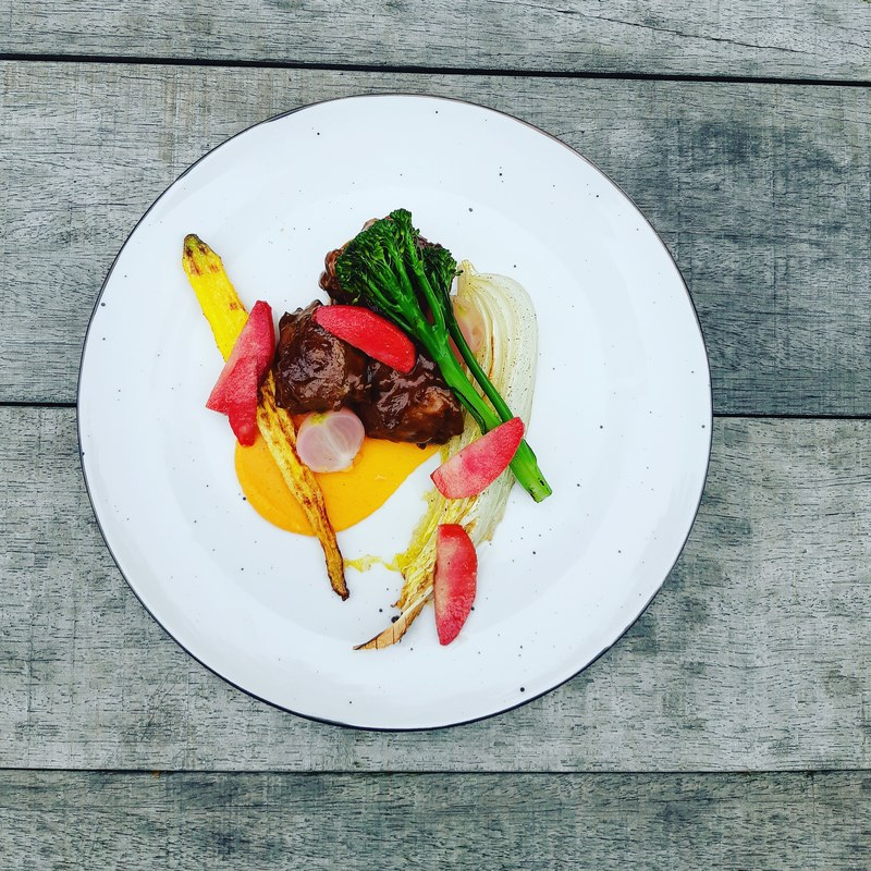 Stewed venison cheek /roasted vegetables/red love Apple