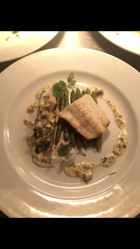 Turbot, asparagus, razor clam, cockles and clams