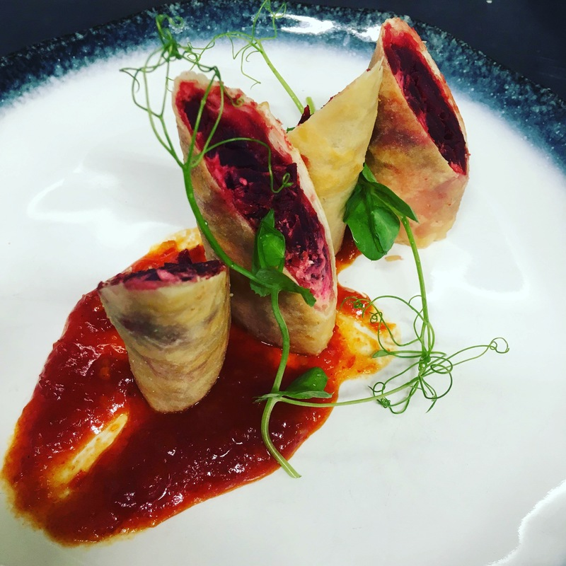 Using up the beetroot in the pub garden  Beetroot, lentil and labneh cheese spring rolls with chilli jam :ok_hand_tone1: