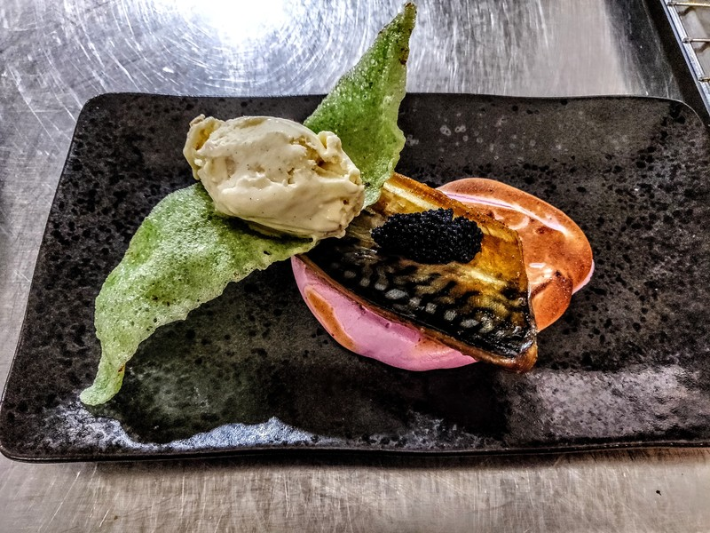 Smoked mackerel, beatroot meringue, cavier, wasabi crisp, horseradish ice-cream.