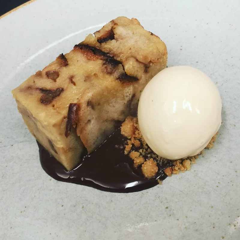 Classic from the Specials last week!!! Bread and Butter Pudding, Vanilla Ice Cream, Chocolate Sauce