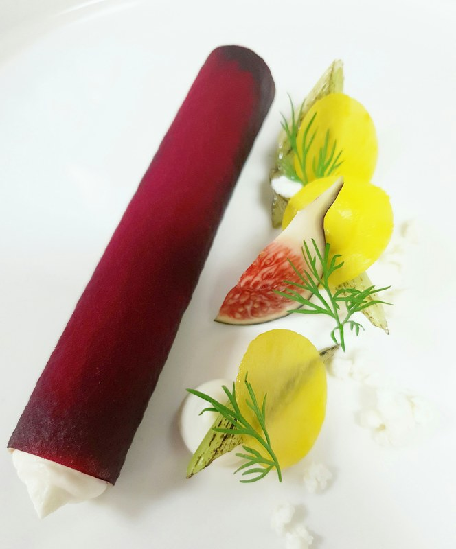 Beetroot 'cannelloni ' fig, feta & fennel