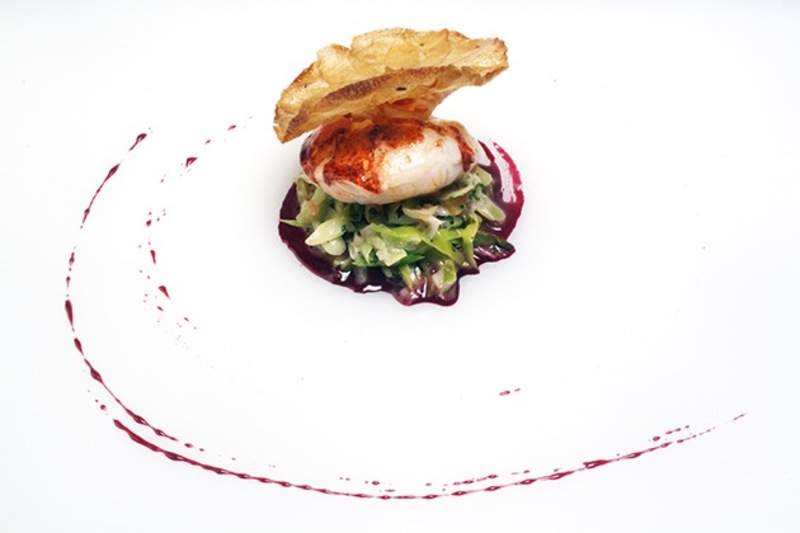 Butter poached lobster leek fricasse pomme maxim beetroot Essence