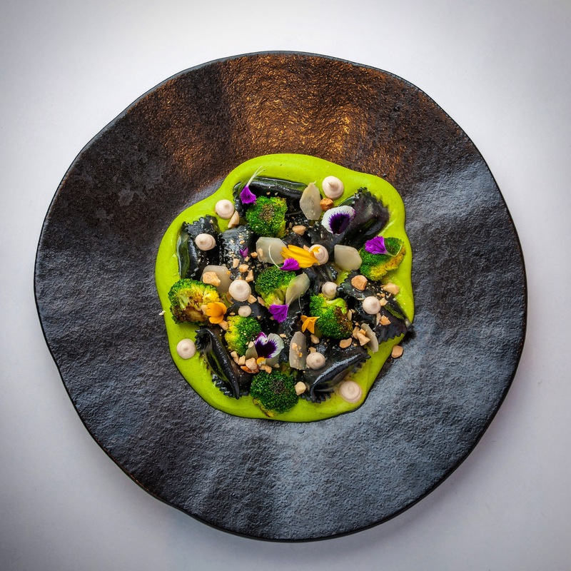 As I plan new menus my mind goes back to old greats I've done before, squid ink agnolotti, ricotta, broccoli crema, charred broccoli and pickled broccoli