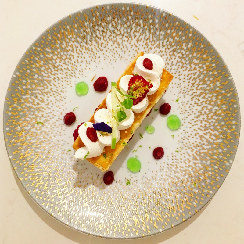 Our raspberry millefeuille & yuzu cream, lime gel and red fruit coulis by @chefwalterishizuka