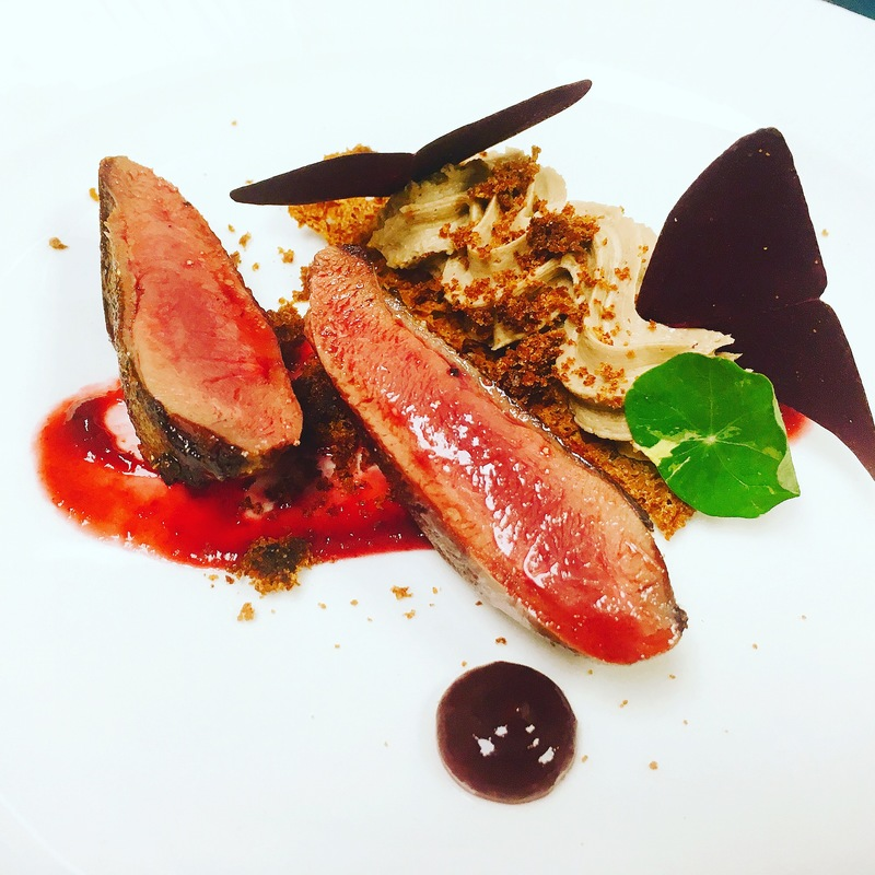 Pigeon breast , liver parfait , cherry , gingerbread, sorrel