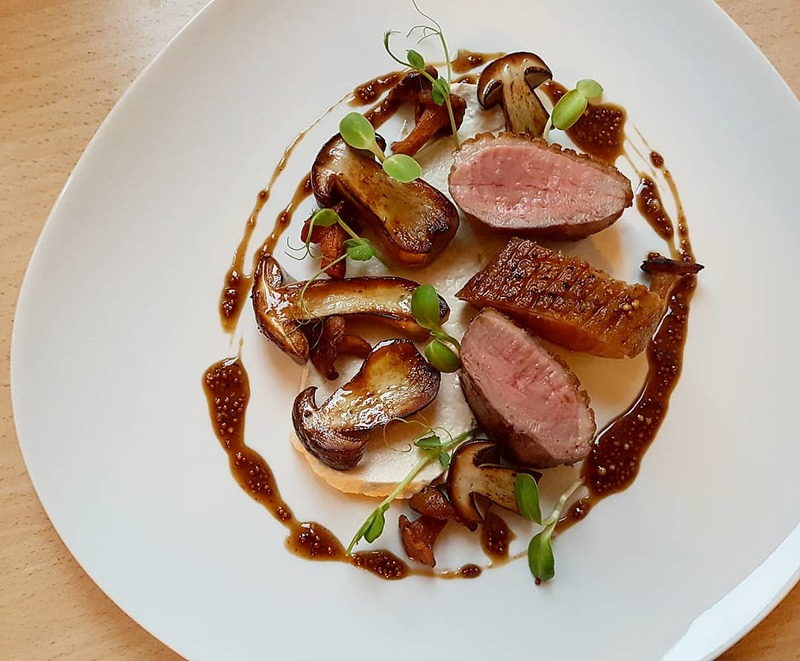 Crispy duck breast•brown butter seared porcini n chanterelles•roasted celeriac puree•veal demi reduce with figs•mustard seeds...