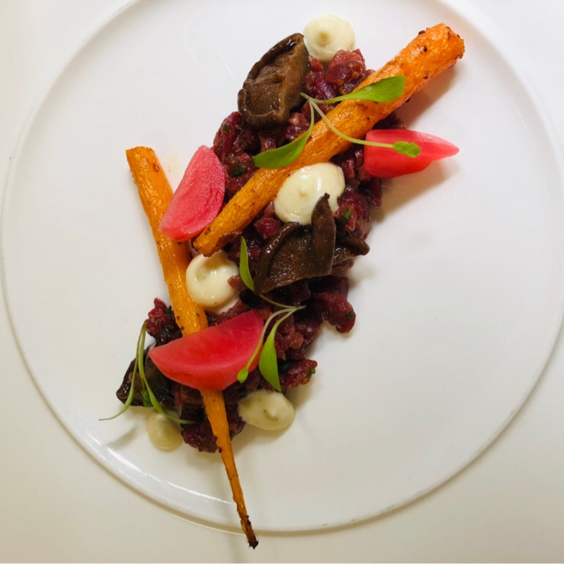 Dutch Wagyu Tartar, Ginger, Miso, Glaced Organic Carrots, Marinated Shiitake, Fresh Wasabi, Radish.