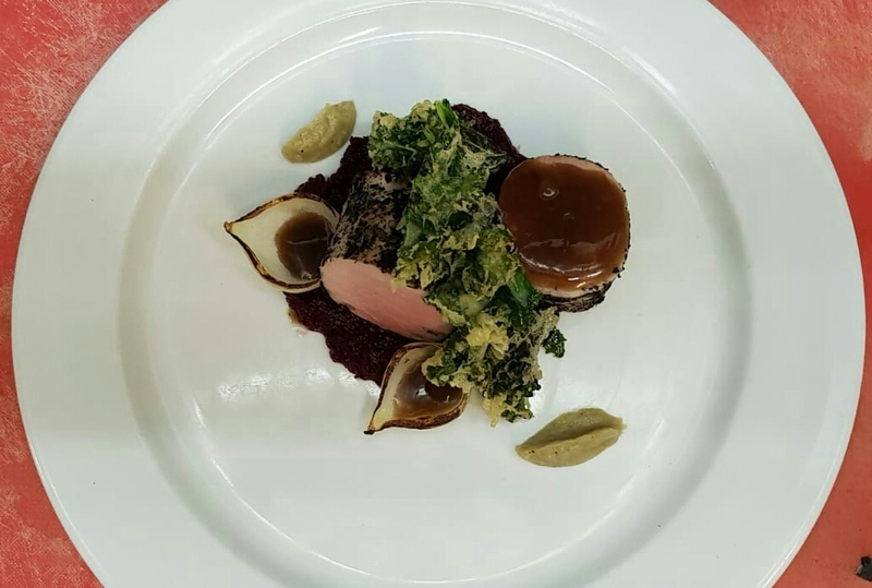 pork tenderloin rubbed in eggplant ashes, beet and balsamic puree, kale tempura, smoked eggplant puree.
