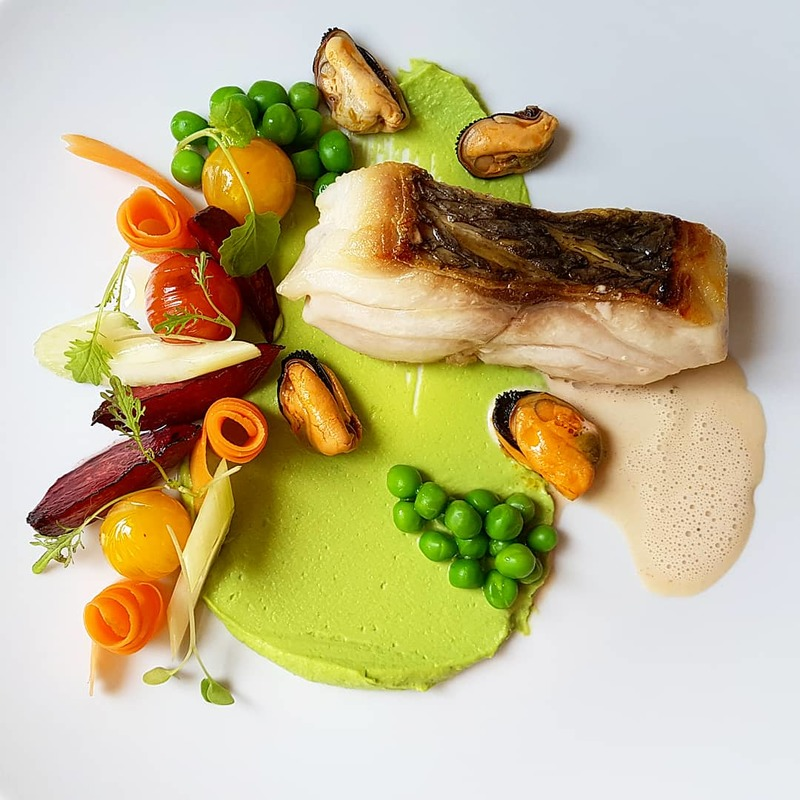 Thyme butter seared dentex•pea puree•poached carrot•roasted beetroot•blistered tomatoes•garlic red wine mussels... #throwback
