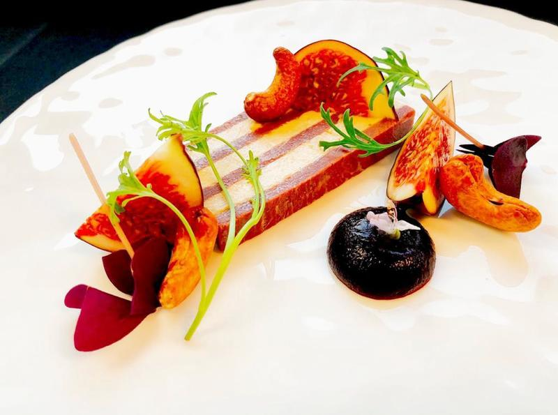 Different angle; smoked duck, foie gras, fig, cashew, fig xeres reduction