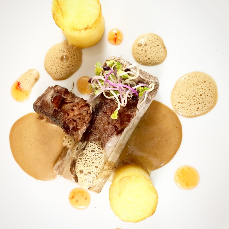 cow sous vide rib, coffee sauce, coffee foam, potatoes (pomme bouchon), radish sprouts, pepper jelly