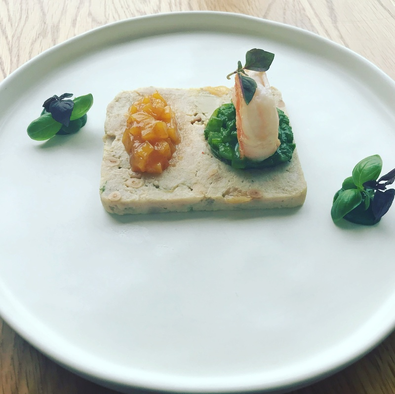 Prabbit and duckliver Rilette, roasted prawn, mango and basil