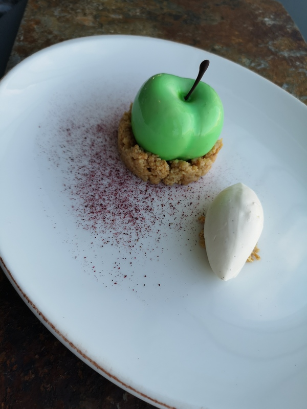 Apple crumble - honey ice-cream   Calvados bavaroise Apple compote  Spiced apple sponge  Almond and oat streusel Honey ice-cream