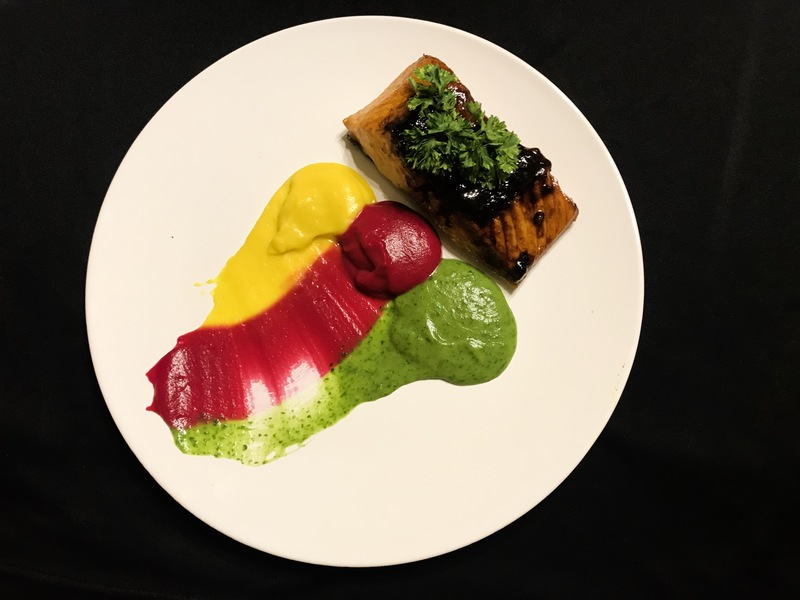 Glazed salmon with mashed beetroot, potato and spinach