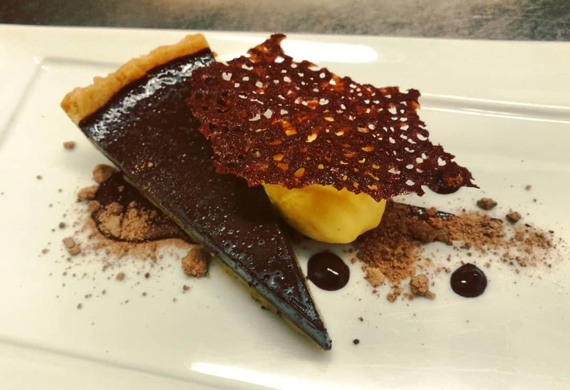 70% Dark Chocolate Tart, Pumpkin Ice Cream, Chocolate Tuile
