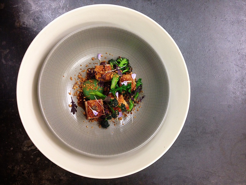 Masterstock pork belly, purple sprouting broccoli, apple purée, Aspall cider jus, crackling crumb...