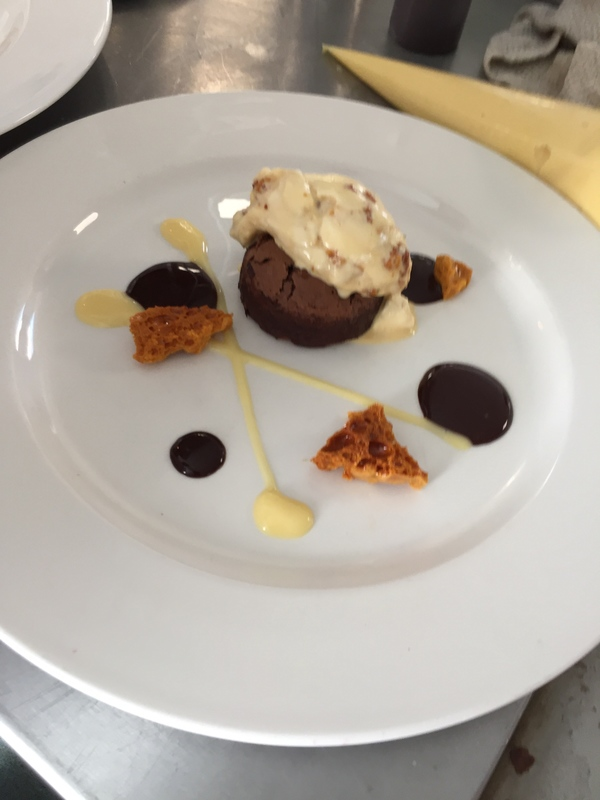 Chocolate fondant  Honey comb ice cream  White cremaux  Belgian chocolate sauce