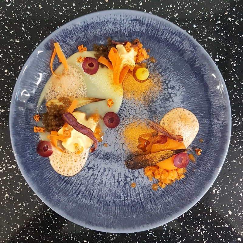 Dessert made of 14 textures of carrot: puree • mousse • sphere • roasted • seared • boiled • caviar • pickled • granita • chips-baked • chips-fried • raw • foam • powder