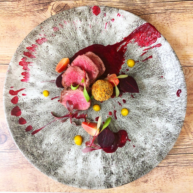 Venison loin, beetroot & black pudding croquette.